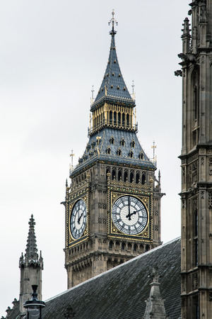 north end: Big Ben is the nickname for the Great Bell of the clock at the north end of the Palace of Westminster in London, and often extended to refer to the clock and the clock tower. Stock Photo