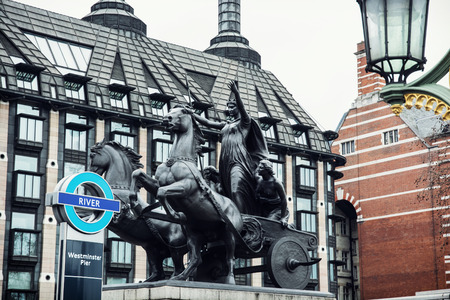 portcullis: Boadicea statue and Portcullis house in London, Great Britain. Editorial
