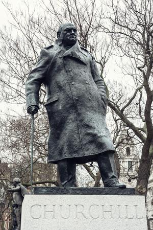Statue of Winston Churchill, Parliament square, London. Reklamní fotografie