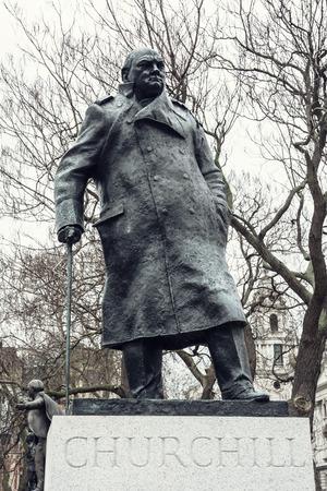 parliament square: Statue of Winston Churchill, Parliament square, London. Stock Photo