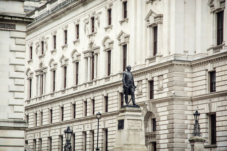 frontage: Robert Clives statue and Churchill War Rooms in London, Great Britain.