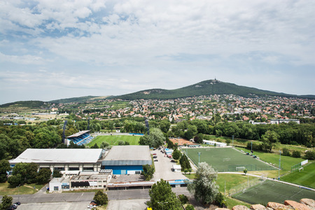 central europe: Football stadium in Nitra city and hill Zobor. Slovak republic, central Europe.