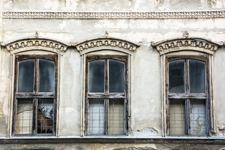old windows: Three old windows. Architectural theme.