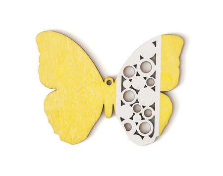 classic contrast: Isolated handmade yellow and white butterfly.