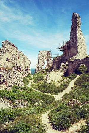 Ruins of Plavecky castle, Slovak republic, central Europe. photo