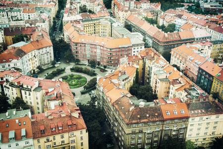 old houses: Old houses in Prague city. Urban scene. View from above.
