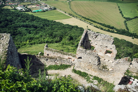 central europe: Ruins of Plavecky castle, Slovak republic, central Europe. View from above.
