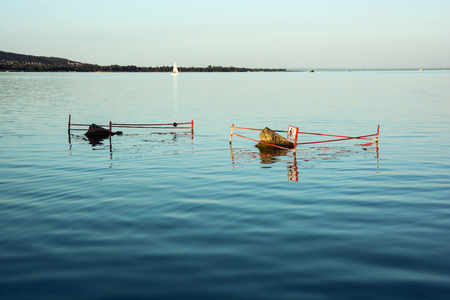 balaton: Lake Balaton, Hungary. Evening, fine waves, reflection.