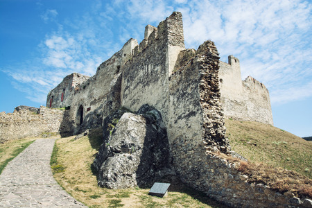 central europe: Ruins of Beckov castle, Slovak republic, central Europe. Travel destination. Stock Photo