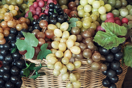 grape: Mix of various grapes in wicker baskets. Stock Photo