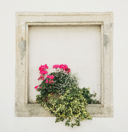 walled: Stones walled window with potted flowers. Building facade. Stock Photo