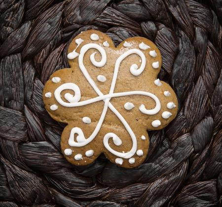 yuletide: Tasty decorated gingerbread cookie. Christmas holidays. Yuletide.