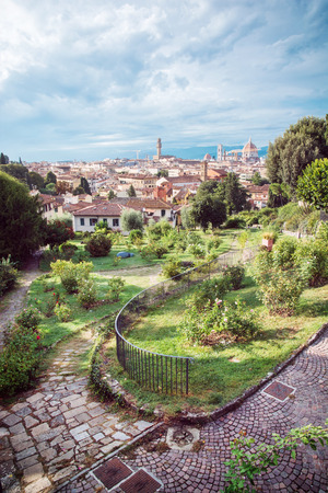 giardino: View from Giardino delle Rose to the city of Florence. Tuscany, Italy. Beautiful travelling scene.