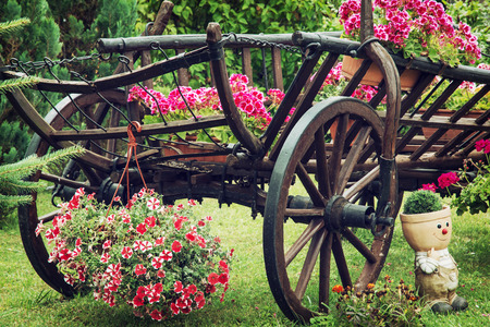 Wooden Garden Wagon With Arranging Of Flowers. Stock Photo, Picture And  Royalty Free Image. Image 46089333.
