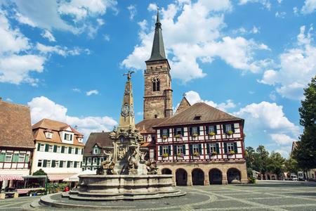 saint martin: The church of Saint Johannes and Saint Martin with square, Schwabach, Bavaria, Germany. Travel destination.