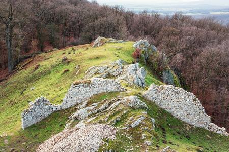 surrounding: Ruins of castle Hrusov and surrounding countryside, Slovak republic, Europe. Stock Photo