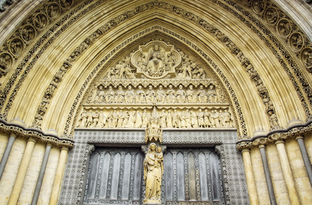 rectilinear: Westminster Abbey, formally titled the Collegiate Church of St Peter at Westminster, is a large, mainly Gothic church in the City of Westminster, London, Great Britain.