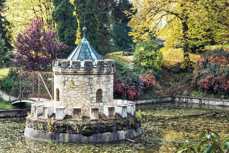 turret: Turret in Bojnice, autumn park, lake and colorful trees. Slovak republic. Cultural heritage. Stock Photo