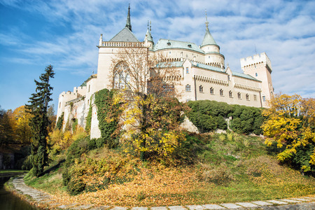 autumn trees: Bojnice castle in Slovak republic. Cultural heritage. Seasonal scene. Autumn trees.