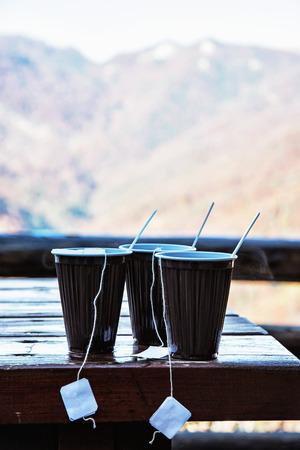 mountainy: View of the mountain with hot tea refreshment. Seasonal tourism.