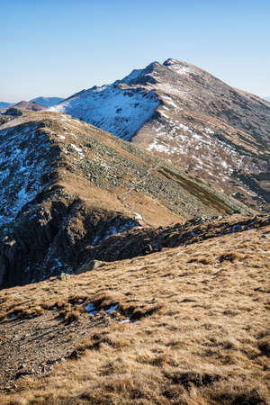 mountainy: Dumbier is highest peak of slovak mountains Low Tatras, Slovakia. Hiking theme. Seasonal scene.