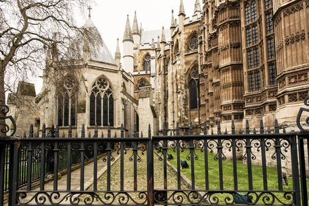 gothic church: Westminster Abbey, formally titled the Collegiate Church of St Peter at Westminster, is a large, mainly Gothic church in the City of Westminster, London. Cultural heritage. Stock Photo