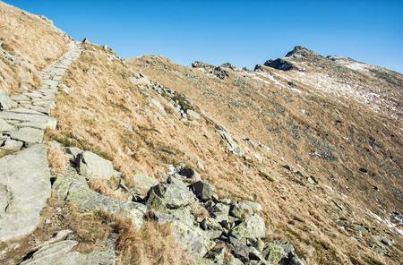 mountainy: Footpath leading up the peak Dumbier, Low Tatras, Slovakia. Hiking theme. Mountains scene. Stock Photo