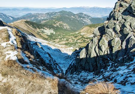 mountainy: View from the ridge of the Low Tatras. Snow and hills. Mountains scene. Wild nature. Stock Photo