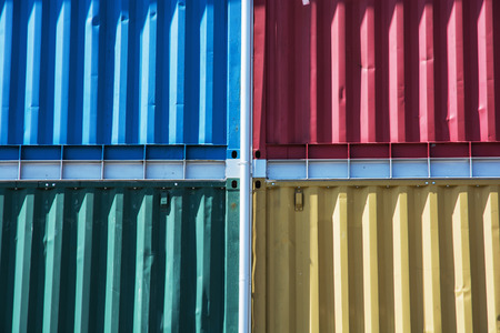 stacked up: Colorful cargo containers stacked up. Industrial theme. Stock Photo