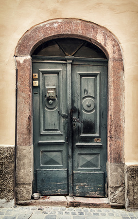 vertical composition: Old wooden doors in Hungary. Architectural theme. Vertical composition.