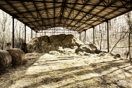 farmhouse: Dry hay under the roof. Rural scene. Farmhouse in the country. Stock Photo