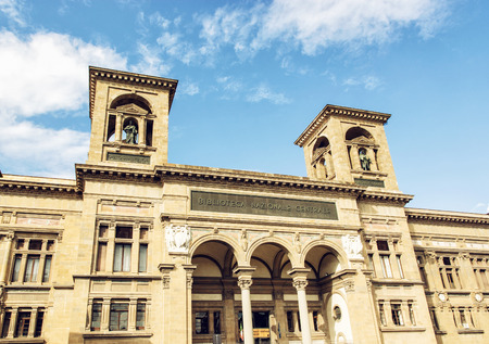 firenze: Building of National Central Library (Biblioteca Nazionale Centrale di Firenze) in Florence, Tuscany, Italy. Cultural heritage.