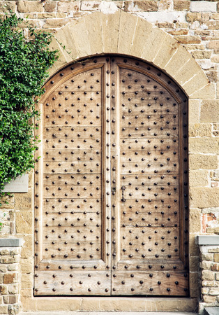wall bricks: Old wooden doors in Florence, Tuscany, Italy. Architectural theme. Vertical composition.