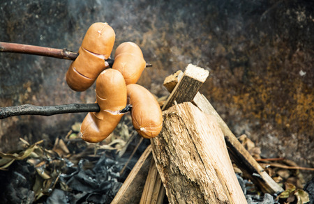 outdoor activity: Delicious grill sausage at the campfire. Camping in nature. Outdoor activity.