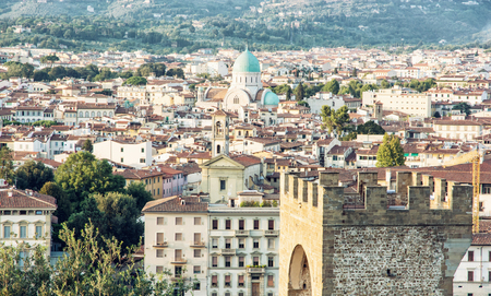 jewish town: Great Synagogue and San Niccolo in Florence, Tuscany, Italy. Cultural heritage. Urban scene.