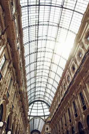 vittorio emanuele: Galleria Vittorio Emanuele II in Milan city, Italy, Europe. Architectural theme. Shopping mall.