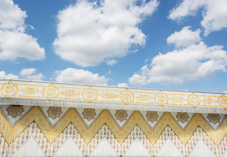 arabic architecture: Traditional arabic architecture and cloudy sky. Architectural element. Stock Photo