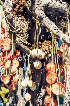 vertical composition: Hanging dried fruit and vegetable. Food theme. Vertical composition. Vibrant colors.