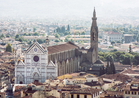 Basilica of Santa Croce, Florence, Tuscany, Italy. The magnificent renaissance city. Stock Photo