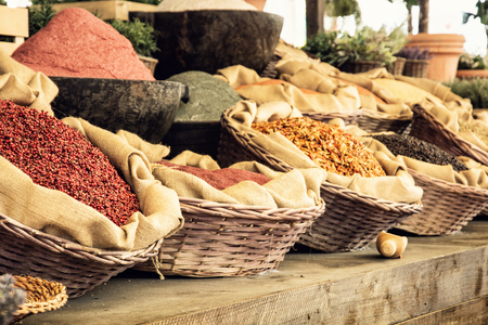 Various kinds of spices in the marketplace. Food theme. Stock Photo