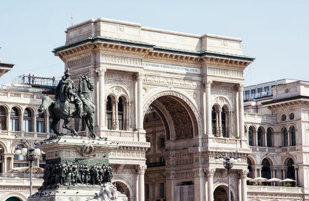 vittorio emanuele: Galleria Vittorio Emanuele II with equestrian statue in Milan city, Italy, Europe. Architectural theme.