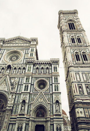 vertical composition: Giottos Campanile and Cathedral Santa Maria del Fiore in Florence, Tuscany, Italy. Cradle of the renaissance. Vertical composition.