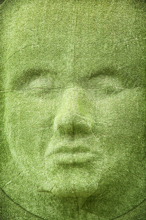 semblance: The grass wall in shape of woman face. Exhibition theme. Stock Photo