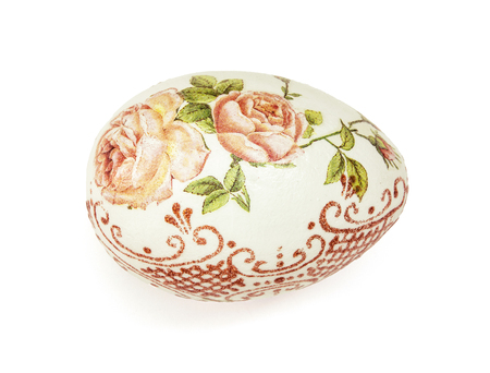 easteregg: Beautiful painted Easter egg with flowers pattern on the white background. Spring time. Stock Photo