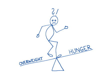 decisionmaking: Overweight and hunger balance concept. Decision-making scheme. Lifestyle makeover.