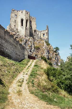 slovak: Beckov castle ruins, Slovak republic, Europe. Architectural theme. Travel destination.