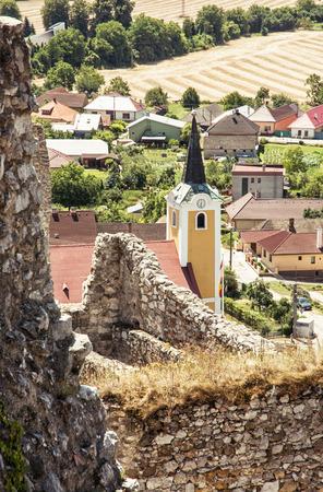 central europe: Parish church of Saint Stephen, Beckov, Slovak republic, central Europe. Urban scene. Stock Photo