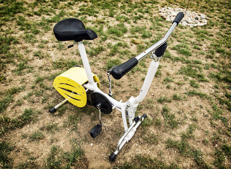 stationary bike: Stationary bike in outdoor space. Healthy lifestyle.