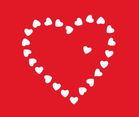 fondo rojo: coraz�n de San Valent�n hecha de peque�os corazones blancos en el fondo rojo.