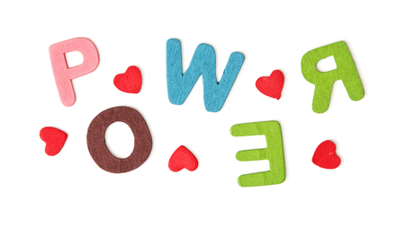 love message: Colorful title POWER isolated on the white background.
